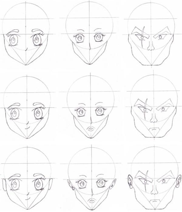 Different anime faces how to draw anime