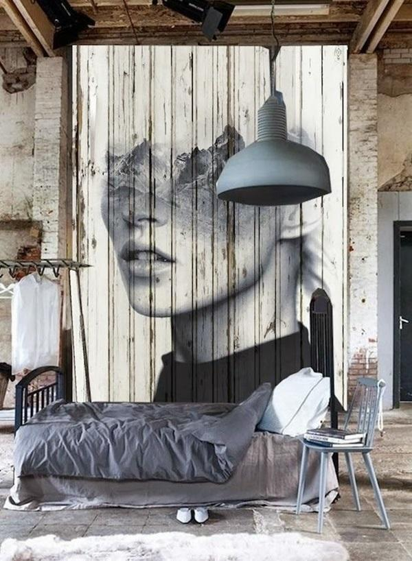 wooden wall with inspiring abstract portrait