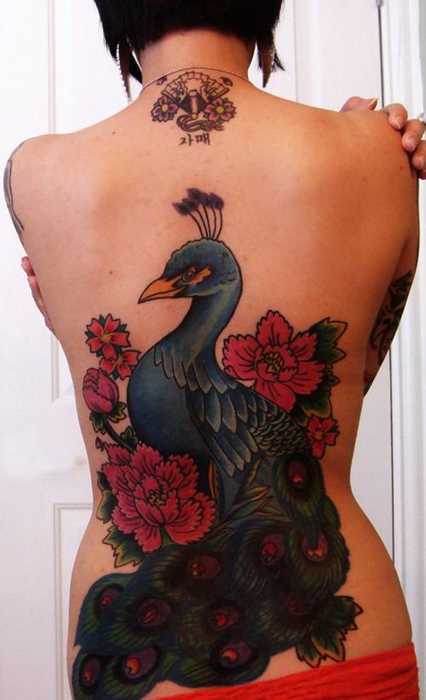 Red peacock tattoo - photo#16