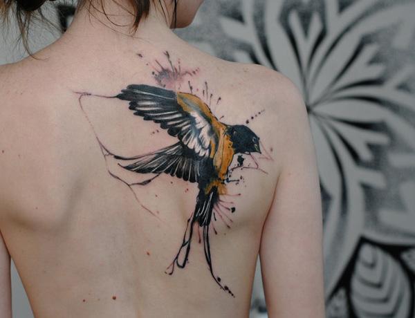watercolor swallow tattooWatercolor Flying Bird Tattoo