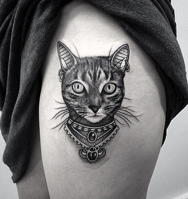 939501657eeab Cute cat thigh tattoo - 100+ Examples of Cute Cat Tattoo <3 ...