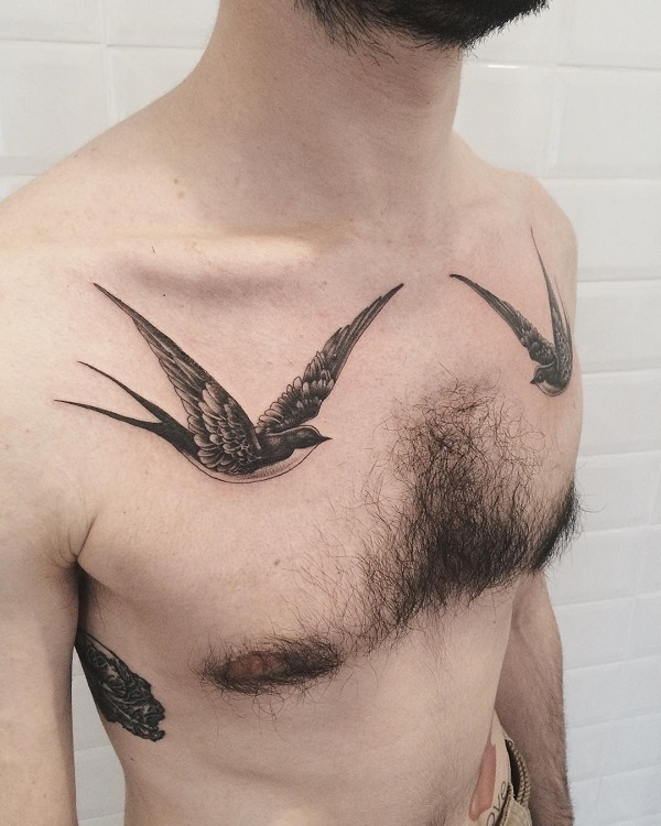 919b9cee9 Swallow chest tattoo for man - 100+ Lovely Swallow Tattoos ...