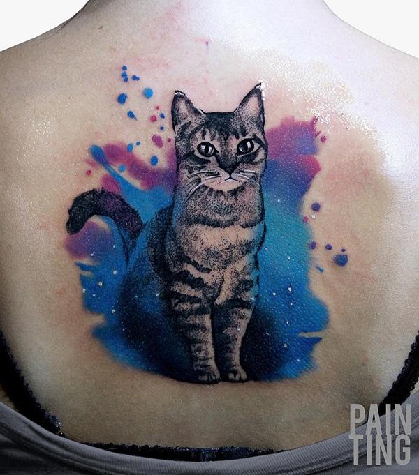 ed6d9dfed27f9 Watercolor cat tattoo. Watercolor cute cat back tattoo - 100+ Examples of Cute  Cat Tattoo <3 ...