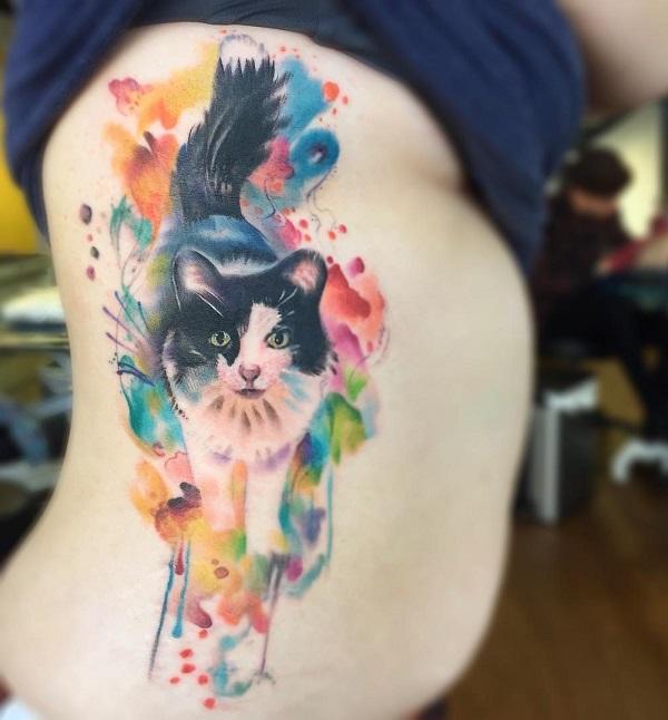 58e2d5007b933 Watercolor cute cat side tattoo - 100+ Examples of Cute Cat Tattoo <3 ...