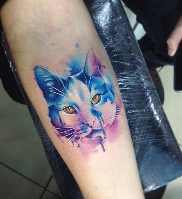 f65e110a6 Watercolor cute cat tattoo - 100+ Examples of Cute Cat Tattoo ...