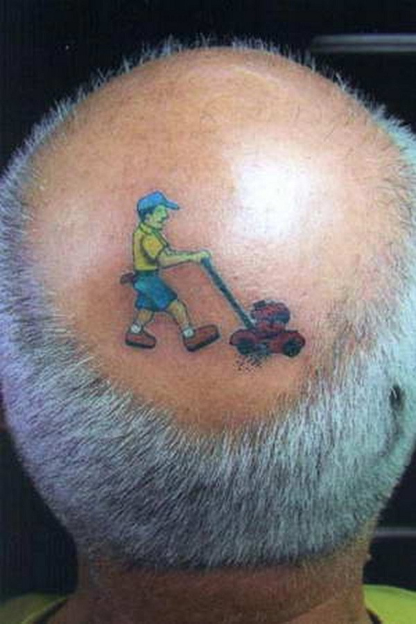funny tattoo on a bald head