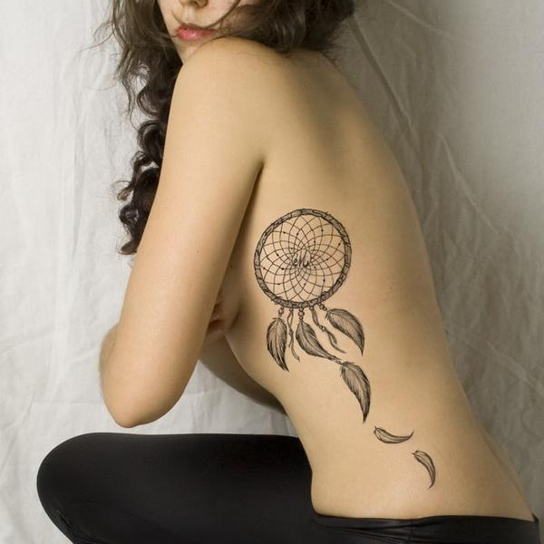 Dream Catcher Tattoo On Rib Cage 40 Rib Tattoos for Girls Art and Design 19