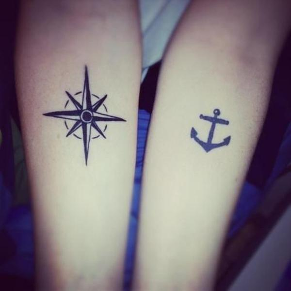 51e9b4d8c Bow and Arrow Matching Tattoos. Compass and Anchor Matching Tattoos - 70+  Lovely Matching Tattoos <3 <3 ...