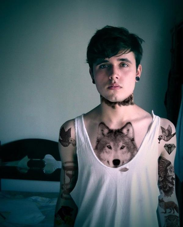 Wolf chest tattoo designs - photo#11