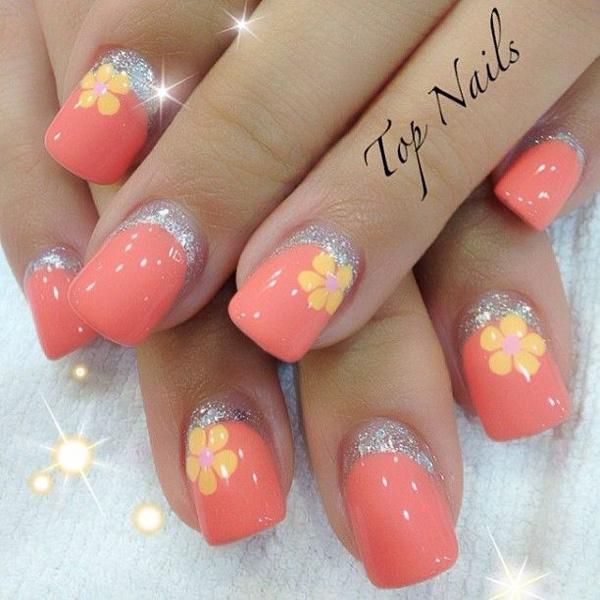 Pink flower nail
