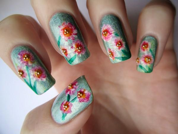 50 flower nail art designs art and design cherry blossoms on neutral nails mightylinksfo