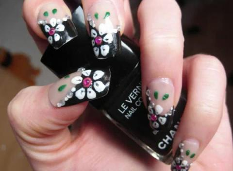 Cherry blossoms on neutral nails - 50 Flower Nail Art Designs Art And Design