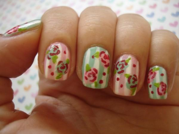 Vintage flowers and polka dots on stripe gingham