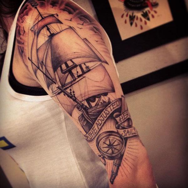 c2f12fb65 Boat Sleeve Tattoo. watercolor style boat tattoo - 100 Boat Tattoo Designs  ...