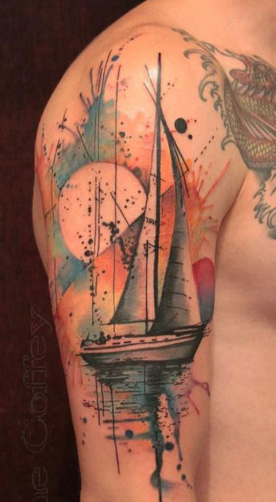Watercolor Sleeves Boat Sleeve Tattoo Watercolor