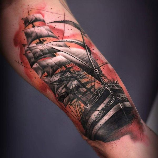 3D Boat tattoo-70
