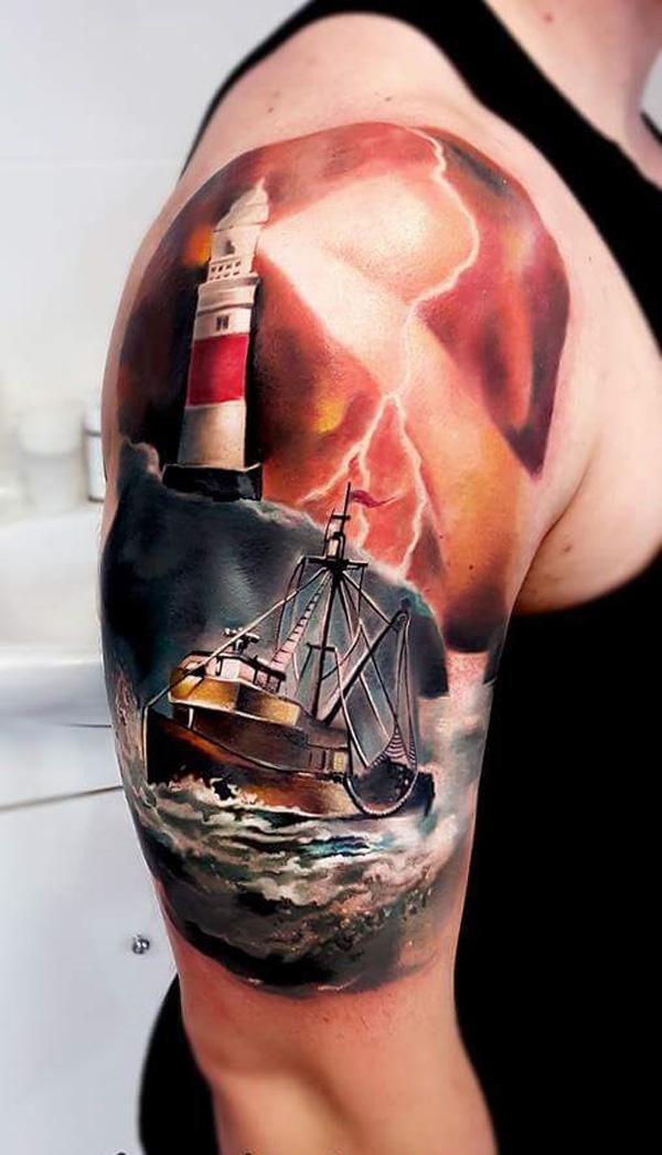 3D Boat with lighthouse half sleeve tattoo-61