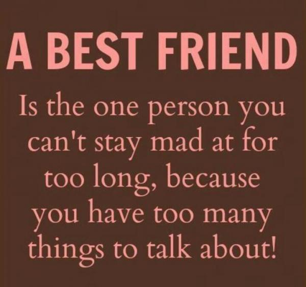 A Best Friend is the one person you can't stay mad at for too long