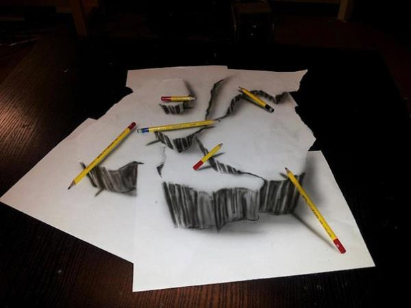 Scattered pencils 3D drawing