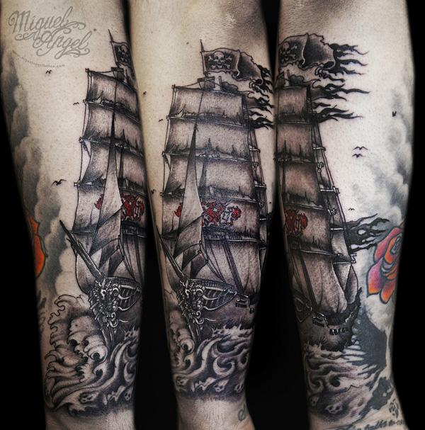 c3f98d292 Sailor Ghost ship tattoo - 100 Boat Tattoo Designs ...