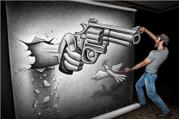 Gun 3D drawing by Ben Heine