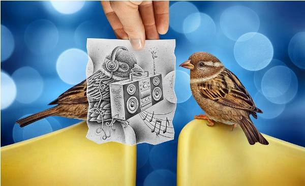 Sparrow 3D drawing by Ben Heine