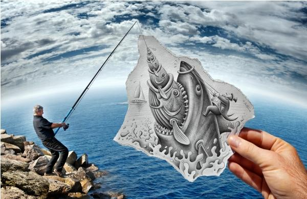 Fisherman 3D drawing by Ben Heine