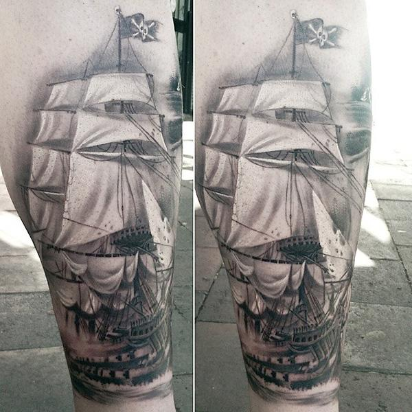 Boat calf tattoo for men-98