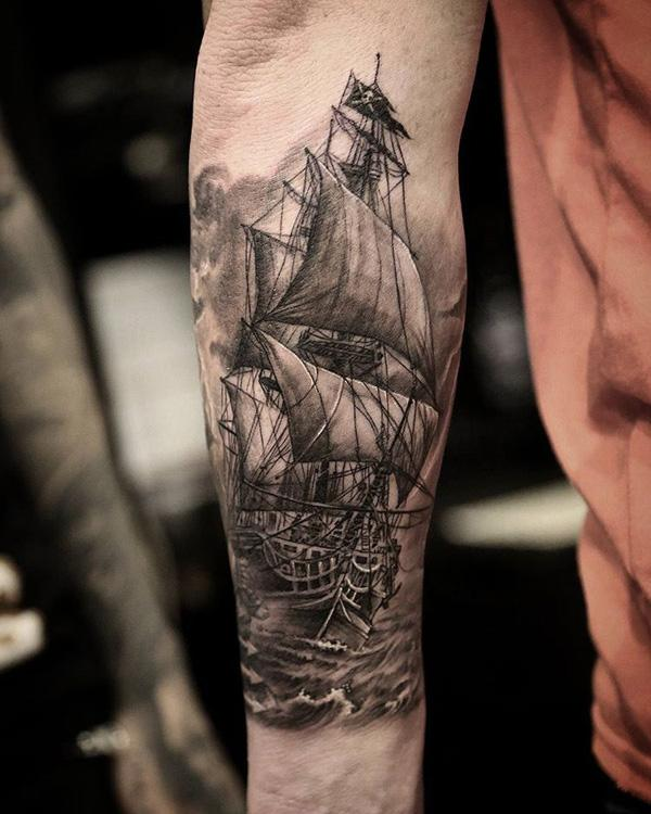 32ec1b63f Boat forarm tattoo - 100 Boat Tattoo Designs ...