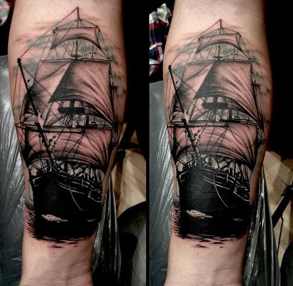 Boat forarm tattoo-93