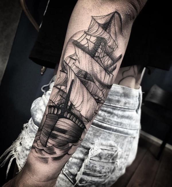 Boat forarm tattoo for girl-83