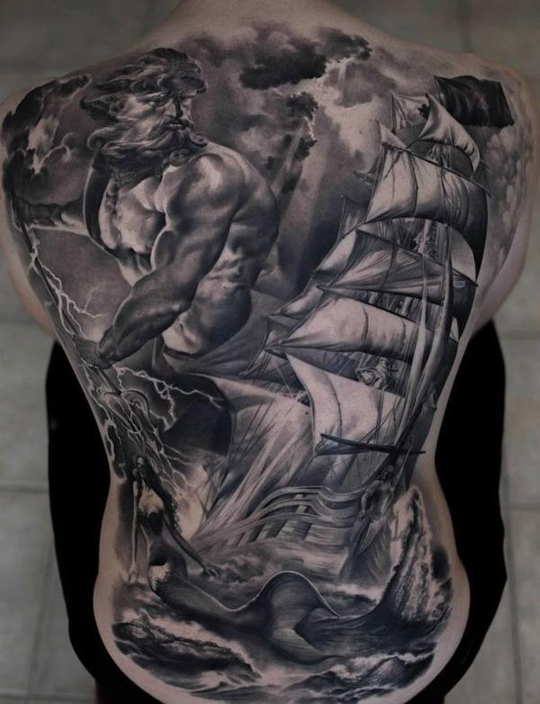 Boat full back tattoo-62