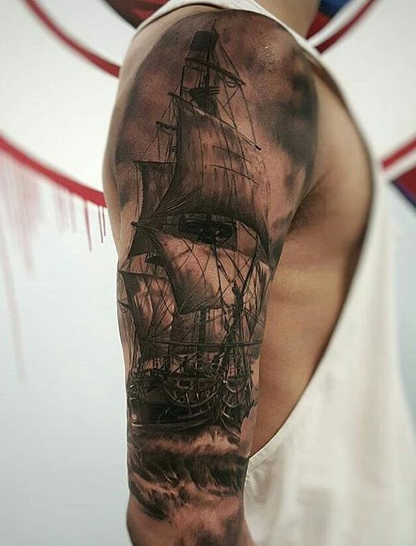 Boat full leeve tattoo for men-86