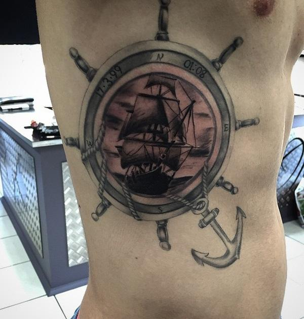 Boat side tattoo for man-67
