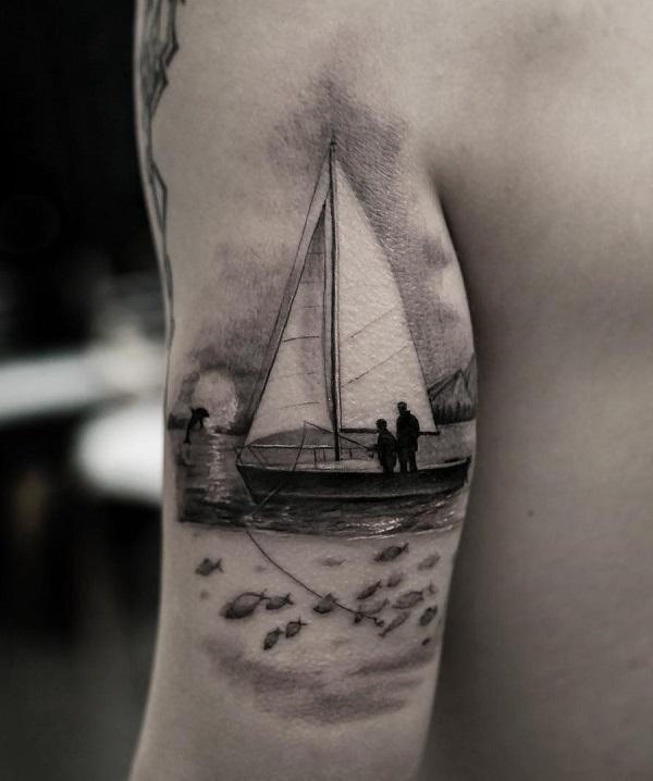 afc9db67a Boat sleeve tattoo - 100 Boat Tattoo Designs ...