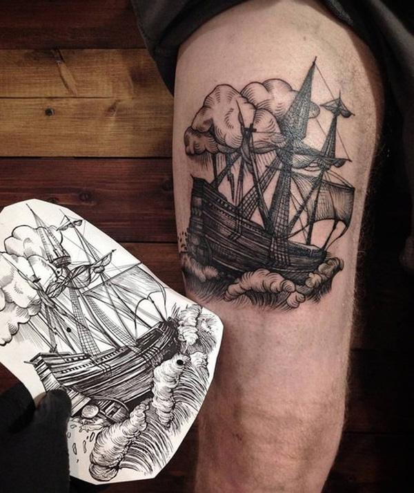 Boat thigh tattoo-63