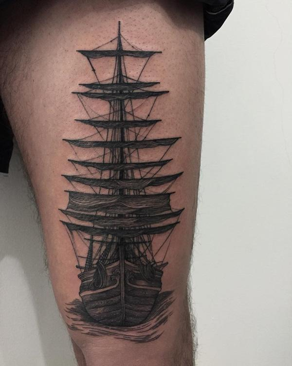 Boat thigh tattoo for men-73