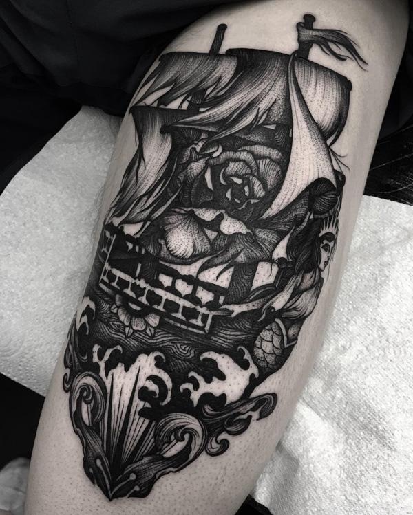 Boat thigh tattoo42