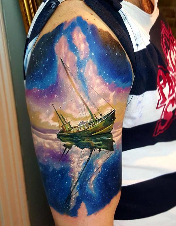 Boat with milk way stars tattoo-85