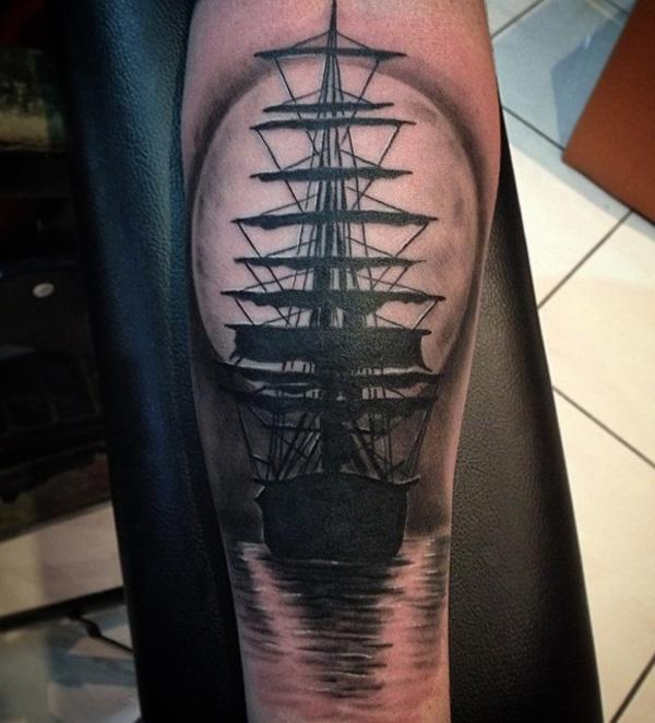 Boat with moon tattoo-68