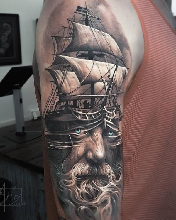 159106a5156ad Boat with portrait tattoo - 100 Boat Tattoo Designs <3 ...