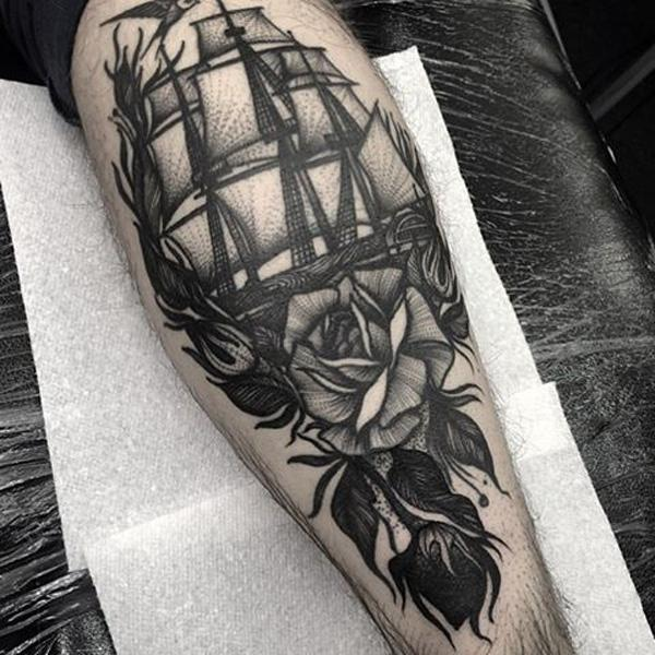 Boat with rose tattoo-78