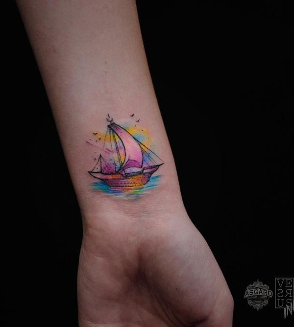 Boat wrist tattoo-45