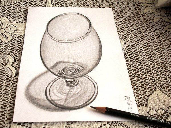 Wine Glass 3D drawing by Carmen Harada