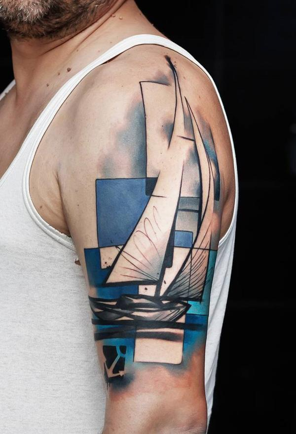 Cool colored boat tattoo-53