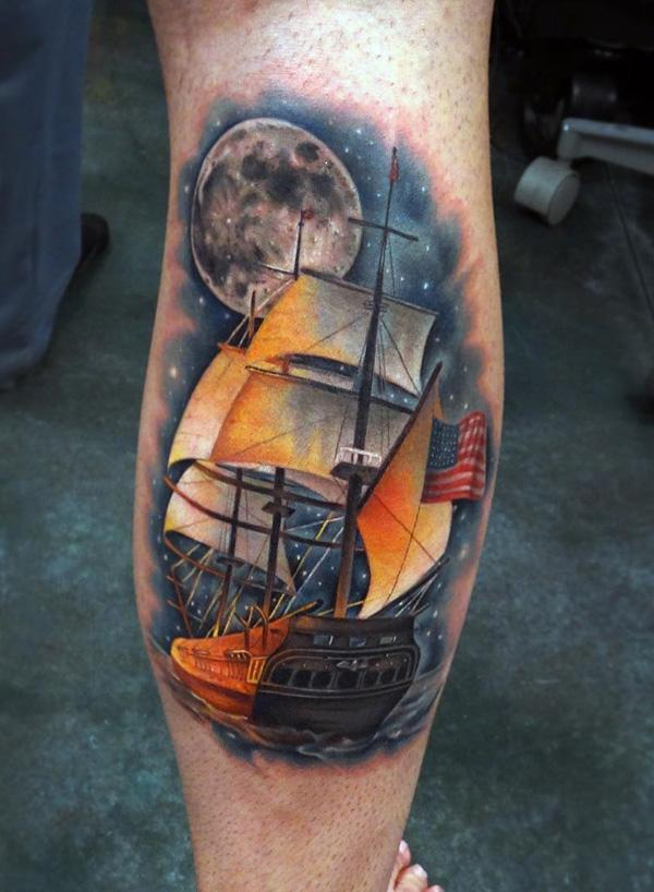 Cool colored boat tattoo-87