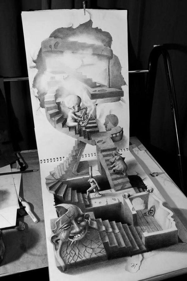 Strange stairs 3D drawing by Fredo