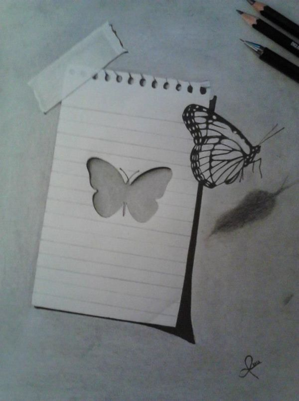 Butterfly 3D drawing by Giannis Anogianakis