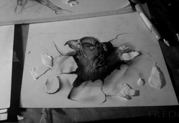 Hatching Bird 3D drawing