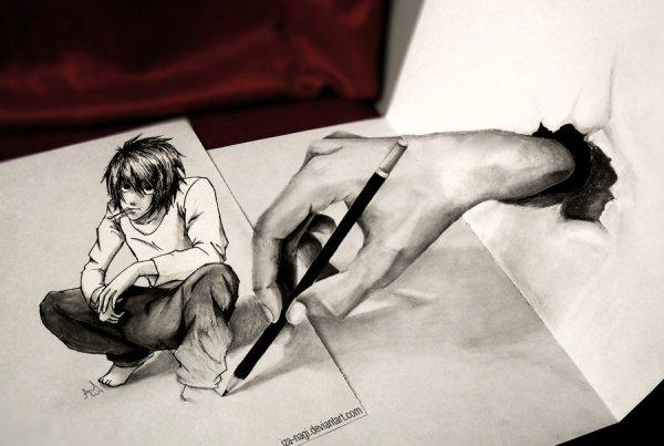 Hand and boy 3D drawing by Iza Nagi